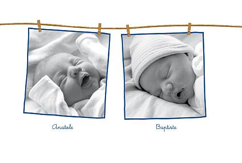 Faire-part de naissance File à linge jumeaux bleu