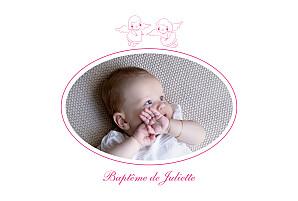 Faire-part de baptême jumeaux ange paysage 4 pages rose