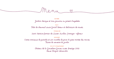Menu de mariage Tendresse violet finition