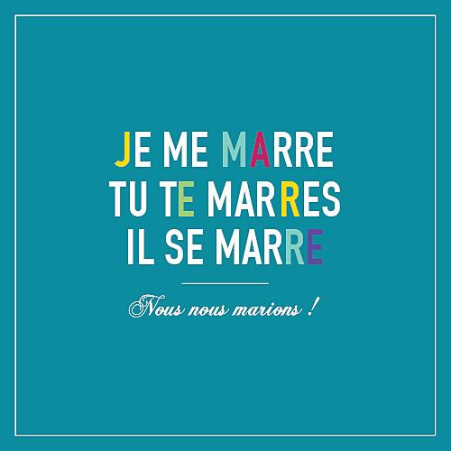 Faire-part de mariage Marrons-nous céladon