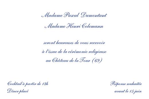 Carton d'invitation mariage Élégant rv blanc