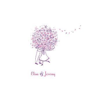 Faire-part de mariage violet bouquet lilas