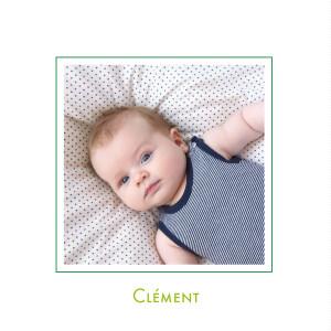Faire-part de naissance Classique garçon 2 photos vert