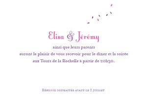 Carton d'invitation mariage violet bouquet lilas