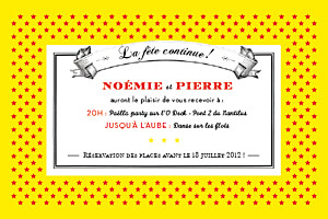 Carton d'invitation mariage Festival rouge