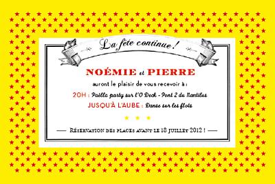 Carton d'invitation mariage Festival rouge finition