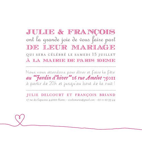 Faire-part de mariage Voiture de collection rose
