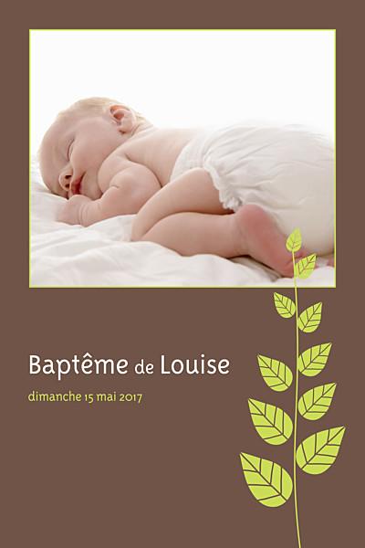 Faire-part de baptême Bucolique taupe finition