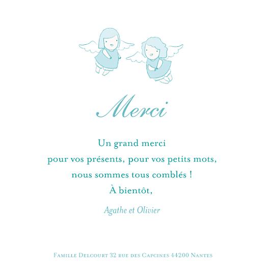 Carte de remerciement Petits anges merci bleu