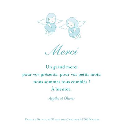 Carte de remerciement Petits anges merci bleu finition