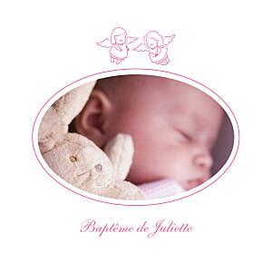 Faire-part de baptême anges ange photo 4 pages rose