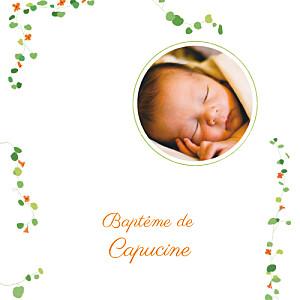 Faire-part de baptême marguerite courtieu capucine orange