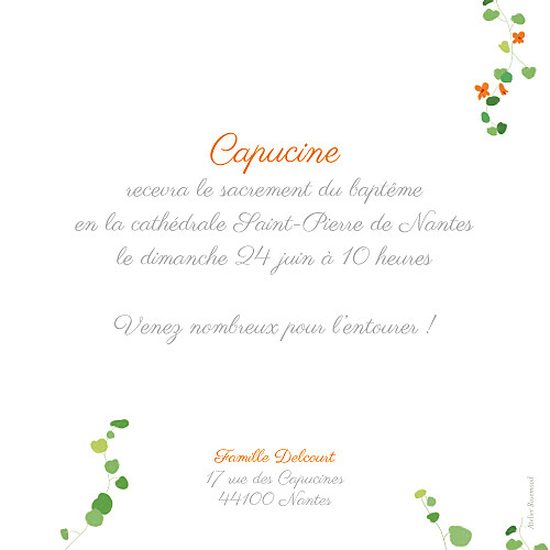 Faire-part de baptême Capucine orange - Page 2