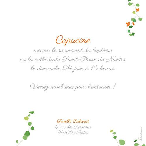 Faire-part de baptême Capucine orange - Page 2