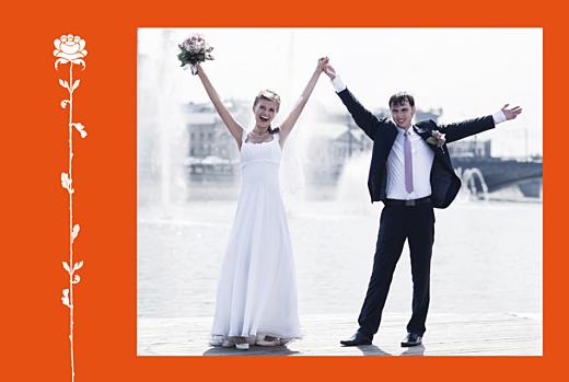 Carte de remerciement mariage Fleur de lotus orange