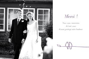 Carte de remerciement mariage violet duo d'oiseaux prune