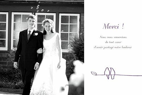 carte de remerciement mariage duo doiseaux prune - Texte Carte De Remerciement Mariage