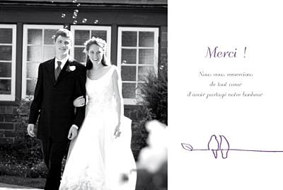Carte de remerciement mariage Duo d'oiseaux prune finition