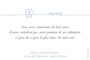 Carte de remerciement mariage Petits oiseaux bleu