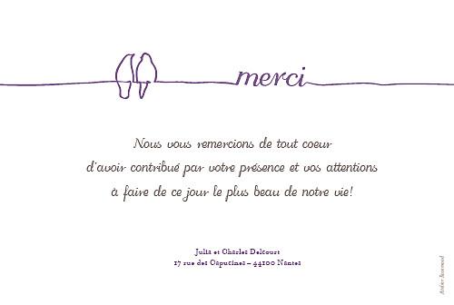 Carte De Remerciement Mariage Oiseaux Rosemood