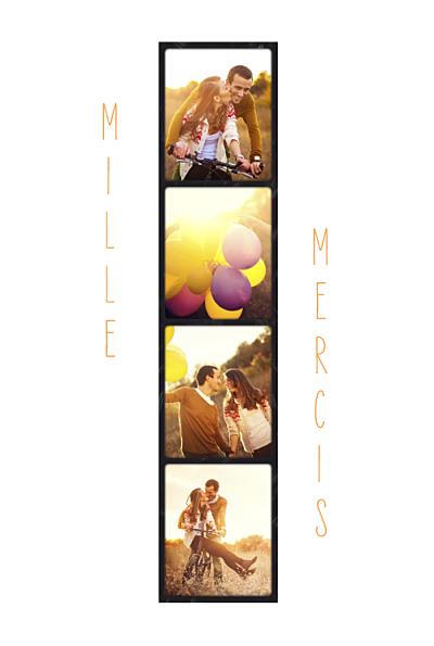 Carte de remerciement mariage 4 photos (centrées) finition