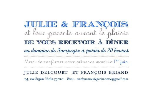 Carton d'invitation mariage Voiture de collection bleu