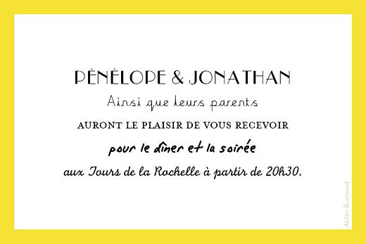 Carton d'invitation mariage Un grand oui !  jaune