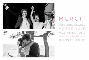 Carte de remerciement mariage Justifié 2 photos blanc