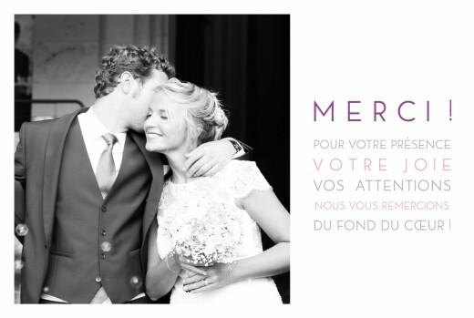 Carte de remerciement mariage Justifié 1 photo blanc