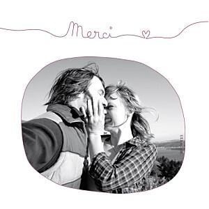 Carte de remerciement mariage violet tendresse (carré) violet