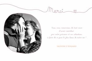 Carte de remerciement mariage Tendresse violet
