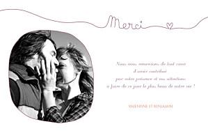 Carte de remerciement mariage violet tendresse violet