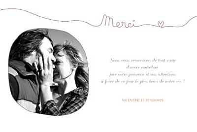 carte de remerciement mariage tendresse violet finition - Texte Carte De Remerciement Mariage