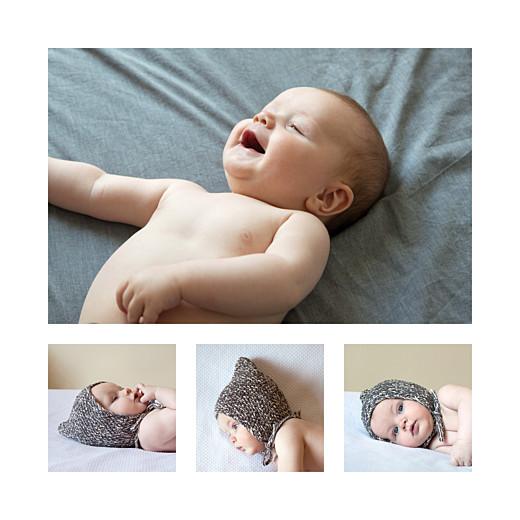 Faire-part de naissance Justifié 4 photos turquoise