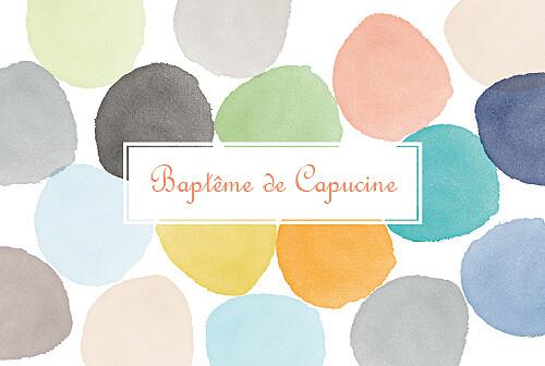 Faire-part de baptême Petite aquarelle orange