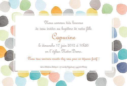 Faire-part de baptême Petite aquarelle orange - Page 2