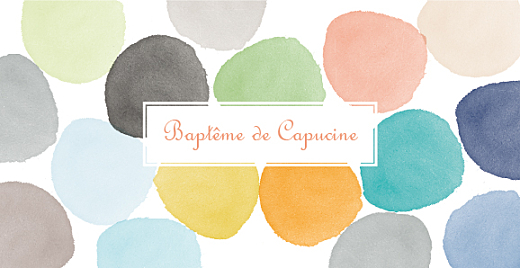 Faire-part de baptême Aquarelle orange