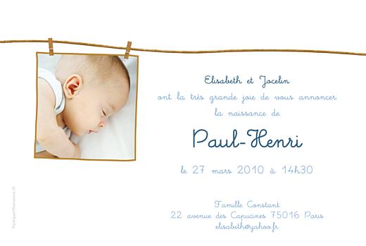 Faire-part de naissance Fil à linge garçon photo rv bleu - Page 2