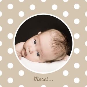 Carte de remerciement Petit pois design (carré) beige