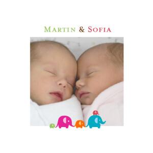 Faire-part de naissance Jumeaux fratrie rouge/vert