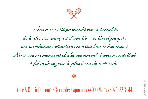 Carte de remerciement mariage Tennis orange - Page 2