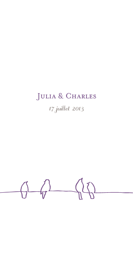 Menu de mariage Oiseaux (panoramique) prune taupe