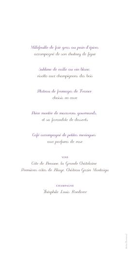 Menu de mariage Oiseaux (panoramique) prune taupe - Page 2