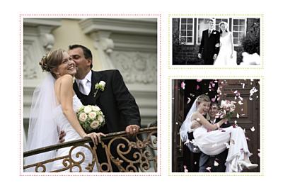 Carte de remerciement mariage Initiales 3 photos rose anis finition