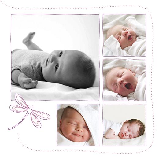 Faire-part de naissance Libellule 5 photos prune