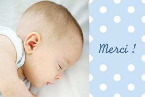 Carte de remerciement Petit pois design bleu
