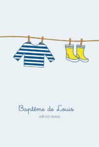 Menu de baptême Marin jaune et bleu
