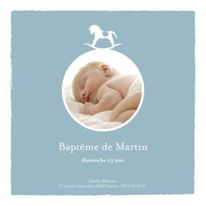 Menu de baptême Petit cheval photo bleu
