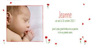 Faire-part de naissance Coquelicots panoramique rouge
