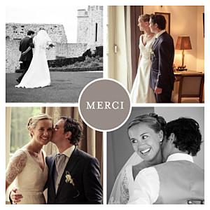 Carte de remerciement mariage marron chic 4 photos taupe